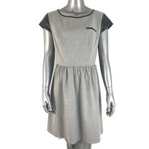 [Kensie] Vegan Leather Trim Grey Career Dress M